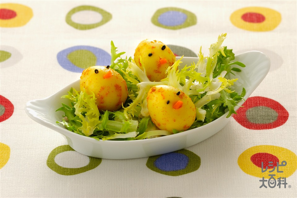 うずらのひよこ卵(うずらの卵(ゆで)+エンダイブを使ったレシピ)