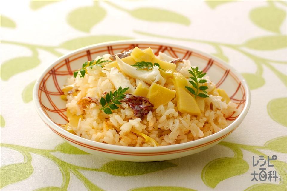 たけのこ入りの簡単たいめし(米+たい(切り身)を使ったレシピ)
