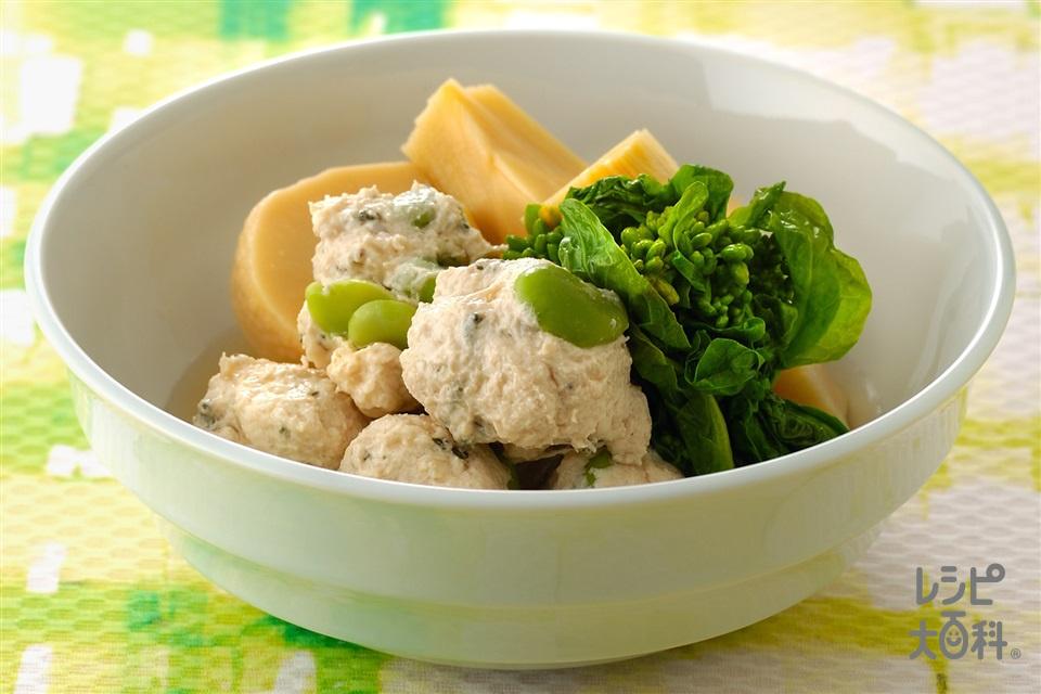 緑茶とそら豆入りつくねの煮もの(鶏ひき肉+ゆでたけのこを使ったレシピ)