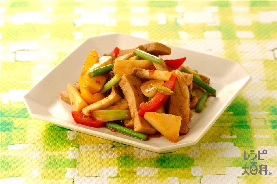 高野豆腐と野菜の中華風みそ炒め(エリンギ+ゆでたけのこを使ったレシピ)
