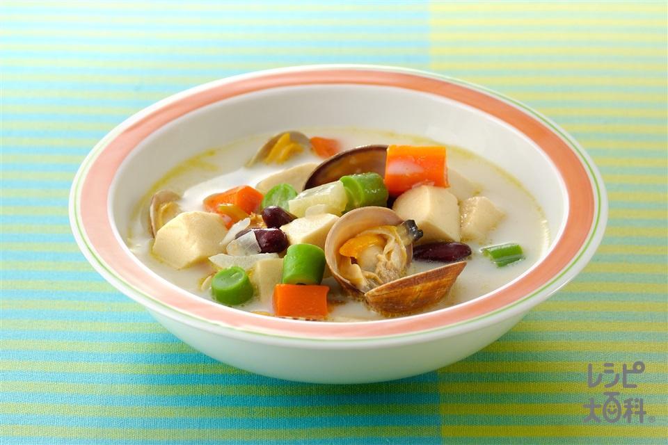 高野豆腐のチャウダー(あさり(殻つき)+牛乳を使ったレシピ)