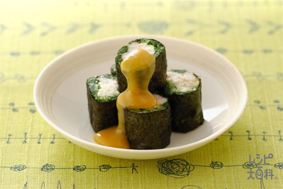 水菜の磯辺巻き 酢みそ添え(水菜+長いもを使ったレシピ)
