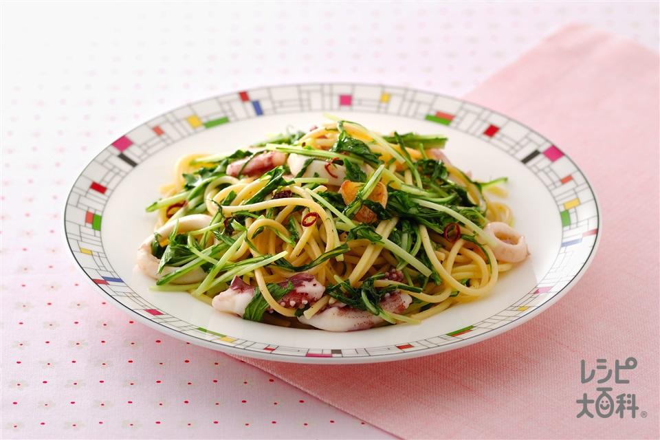 水菜といかのスパゲッティ(スパゲッティ+いかを使ったレシピ)