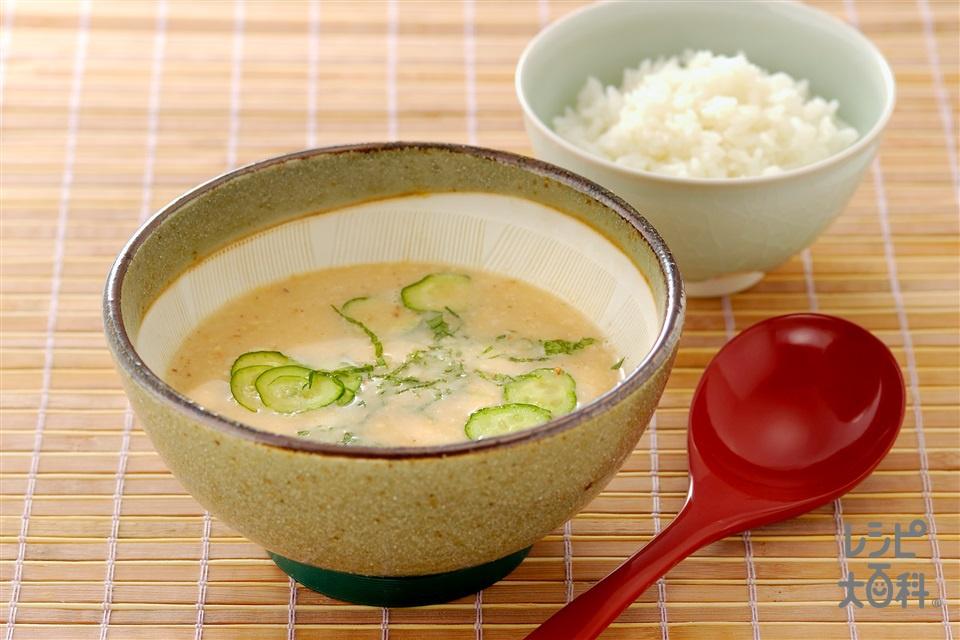 あじの干ものの冷や汁(きゅうり+ご飯を使ったレシピ)