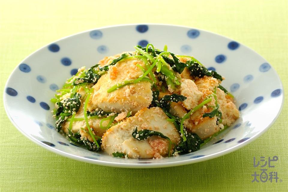 豆腐とみつ葉のたらこ炒め(木綿豆腐+みつばを使ったレシピ)