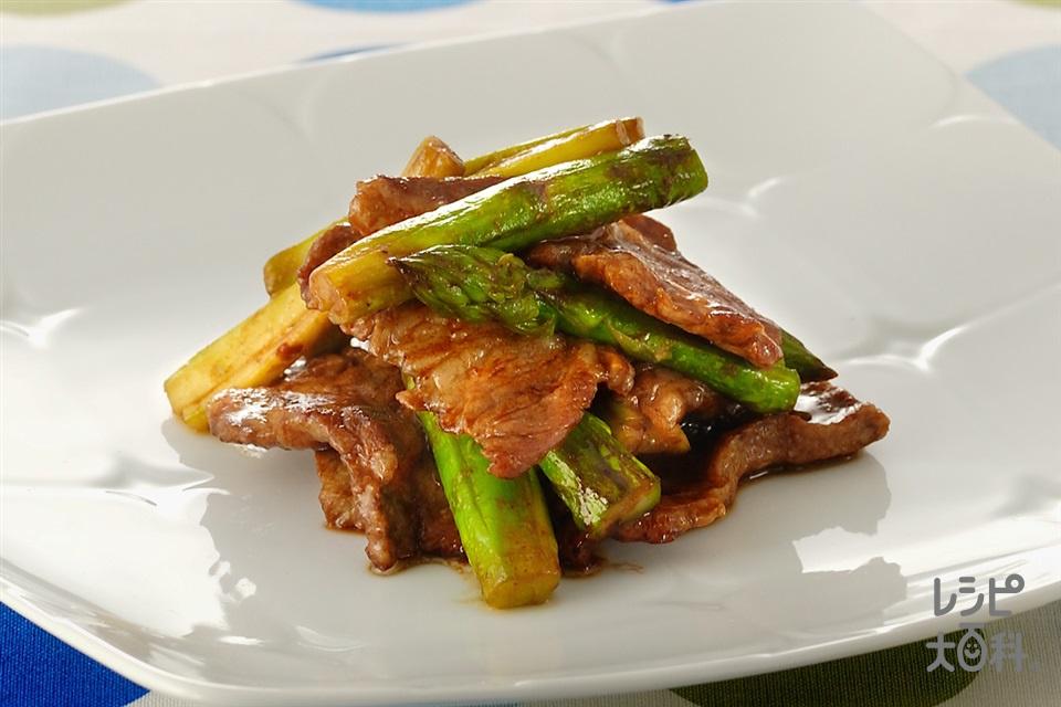 豚肉とアスパラガスの甜麺醤炒め(豚しょうが焼き用肉+グリーンアスパラガスを使ったレシピ)