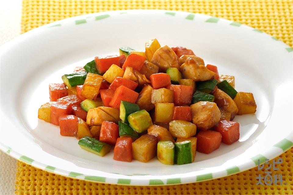 ささ身と野菜のコロコロ炒め(にんじん+じゃがいもを使ったレシピ)