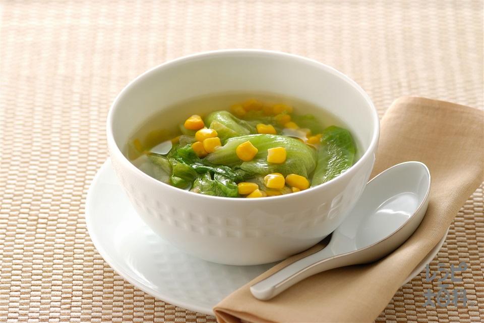 レタスとコーンのあっさりスープ煮(レタス+ホールコーン缶を使ったレシピ)