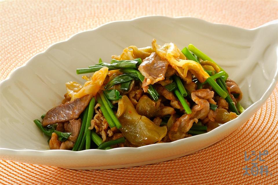 豚肉とザーサイの炒めもの(豚薄切り肉+ザーサイを使ったレシピ