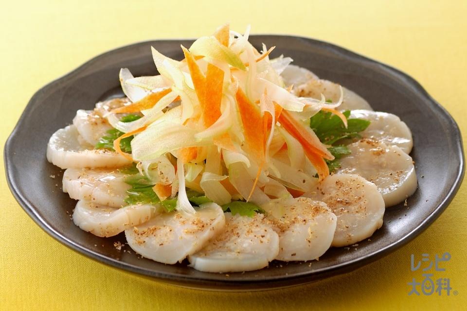 花椒香る帆立のカルパッチョ(帆立貝柱(刺身)+セロリを使ったレシピ)
