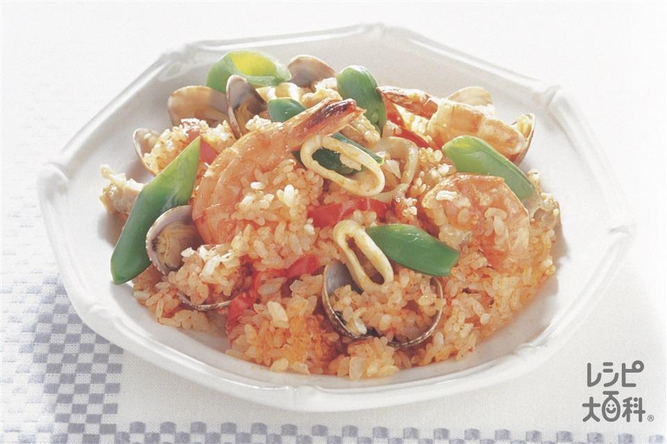 炊き込みパエリア(米+いか(胴)を使ったレシピ)
