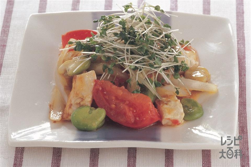 白身魚のオイスターソース炒め(白身魚(すずき など)+トマトを使ったレシピ)