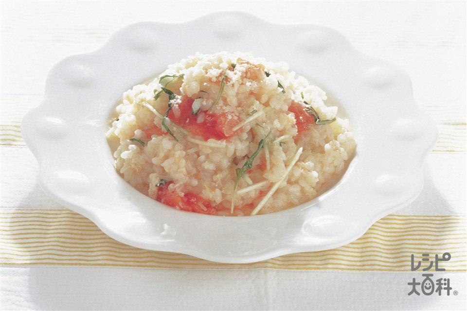 かにと水菜のリゾット(米+トマトを使ったレシピ)