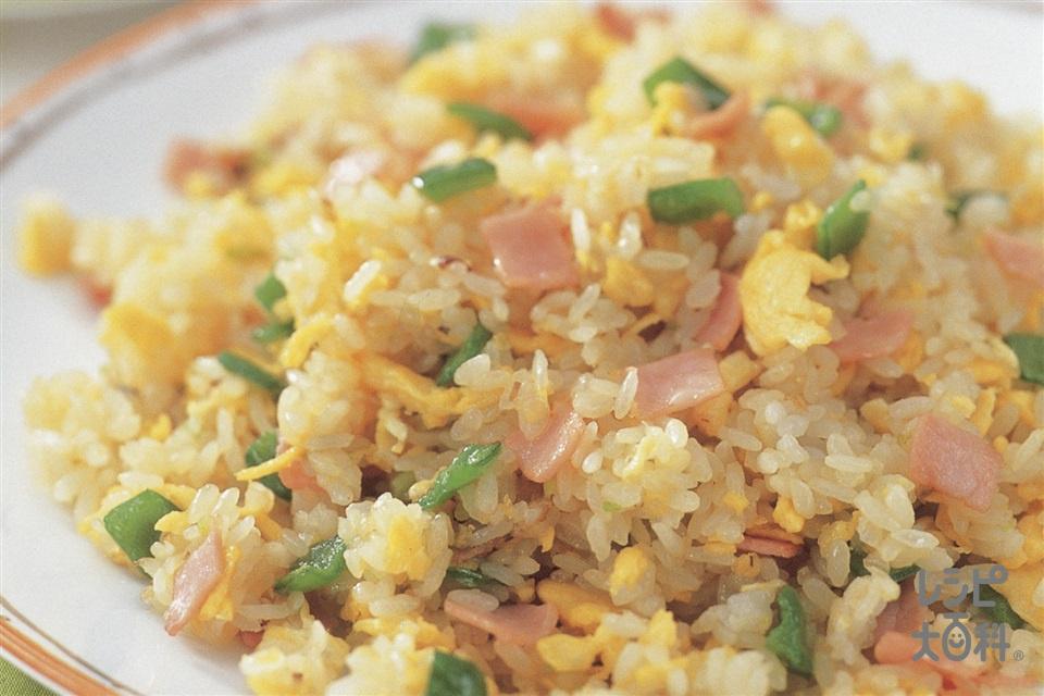 ハムとピーマンの炒飯(ご飯+ロースハムを使ったレシピ)