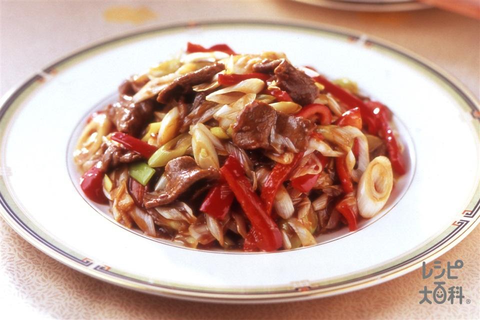 ねぎと牛肉のオイスター炒め(牛もも赤身薄切り肉+ねぎを使ったレシピ)