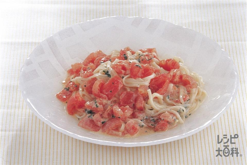 たっぷりトマトうどん(トマト+Aおろしにんにくを使ったレシピ)