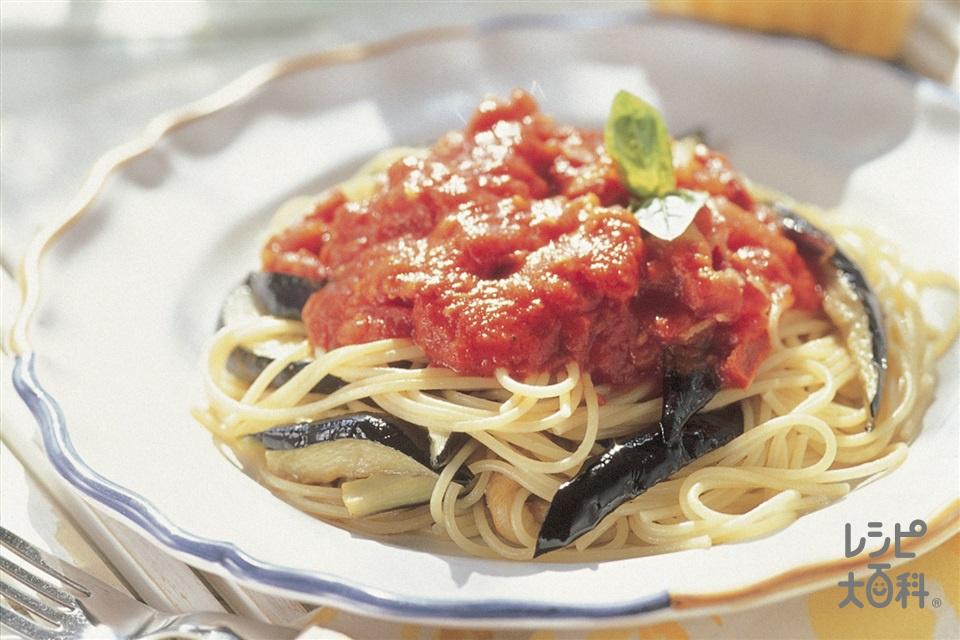 なすのトマトソースパスタ(スパゲッティ+ホールトマト缶を使ったレシピ)