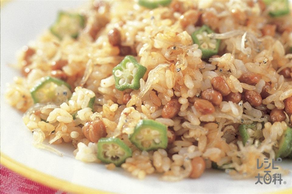 カリカリじゃこの納豆チャーハン(納豆+ご飯を使ったレシピ)