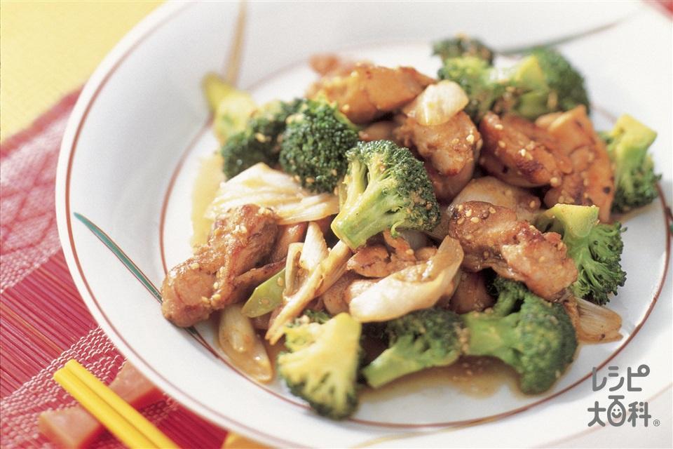 鶏肉とブロッコリーのごまみそ炒め(鶏もも肉+ブロッコリーを使ったレシピ)