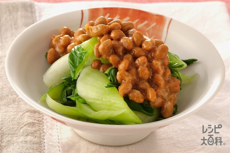 チンゲン菜の納豆じょうゆかけ