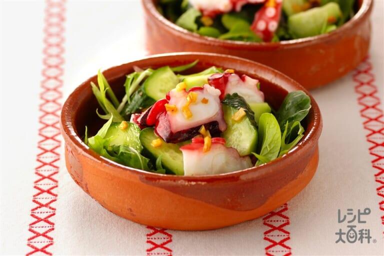 たこときゅうりのガーリックサラダ