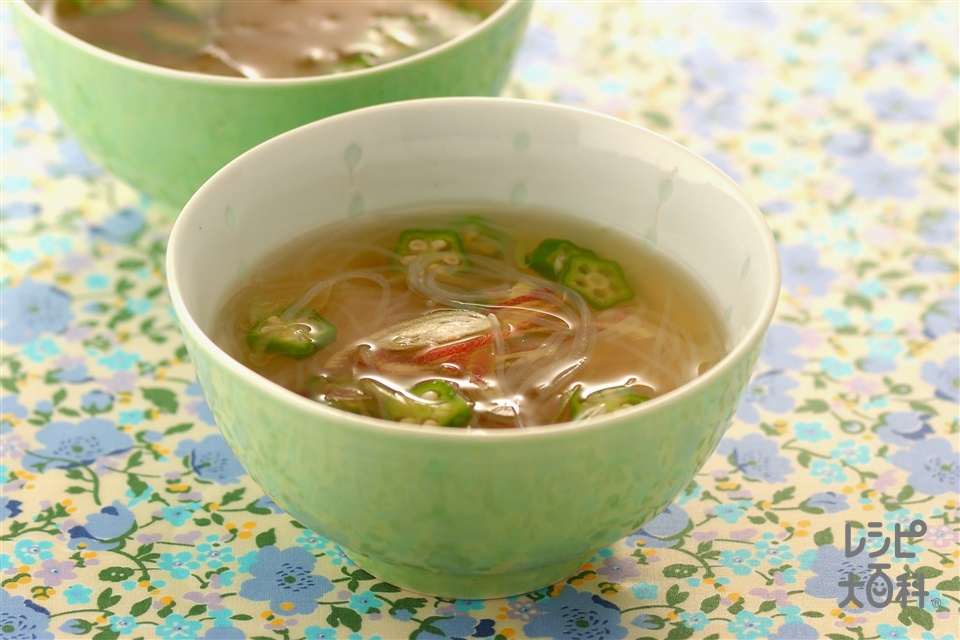 みょうが、オクラ、春雨のスープ