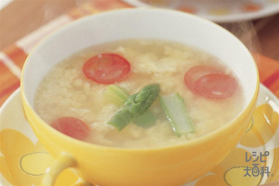ミルファンテ(卵とチーズのスープ)(グリーンアスパラガス+卵を使ったレシピ)