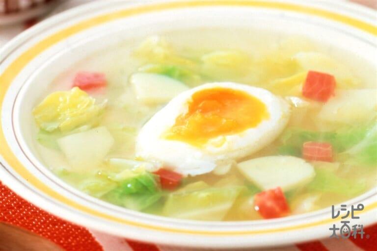 半熟卵と彩り野菜のスープ