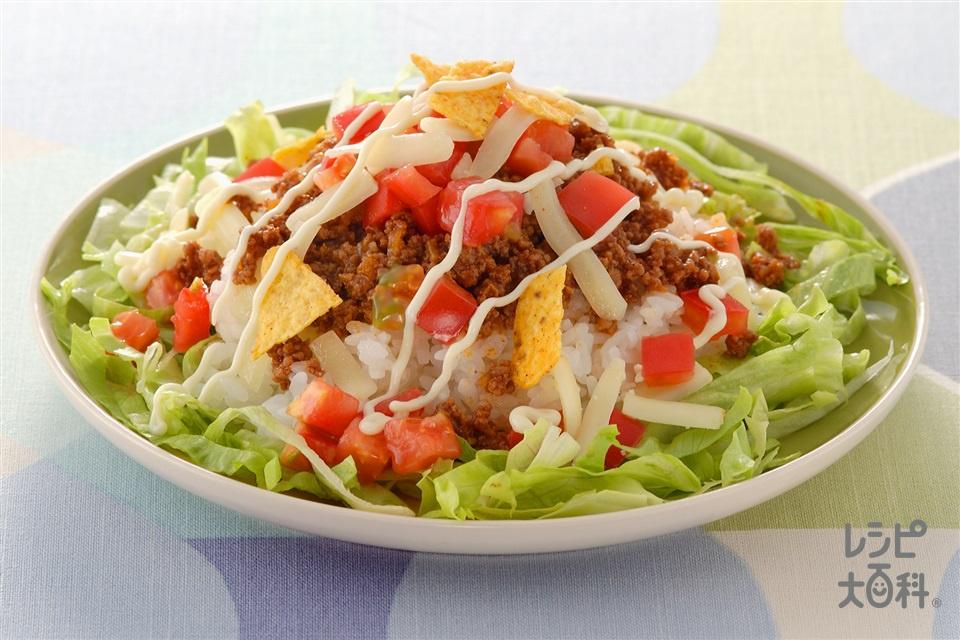 タコライス(ご飯+合いびき肉を使ったレシピ)