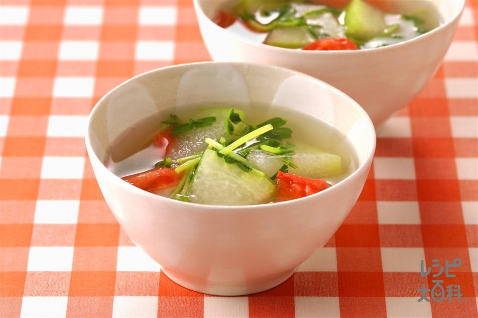 とうがんと豆苗のスープ