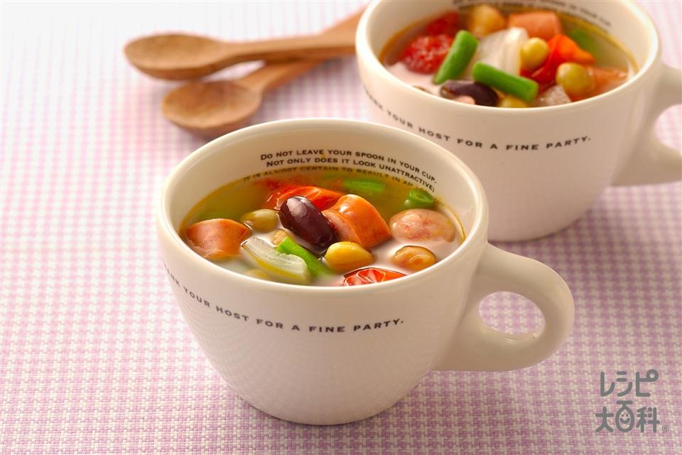 ミックスビーンズのスープ(ミックスビーンズ+ミニトマトを使ったレシピ)
