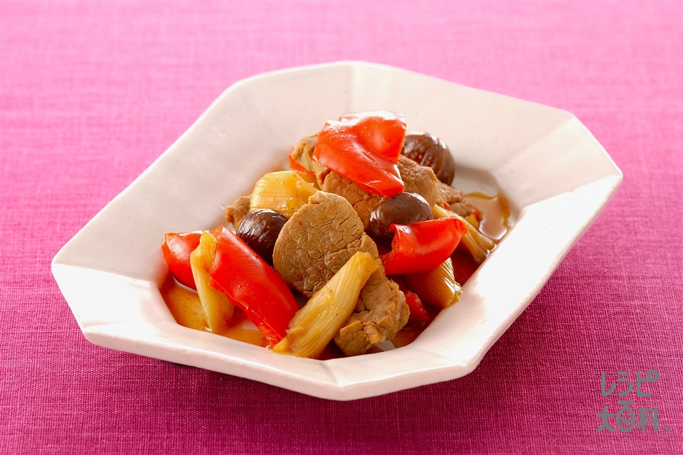 豚肉とパプリカの中華煮(豚ヒレ肉+パプリカ(赤)を使ったレシピ)