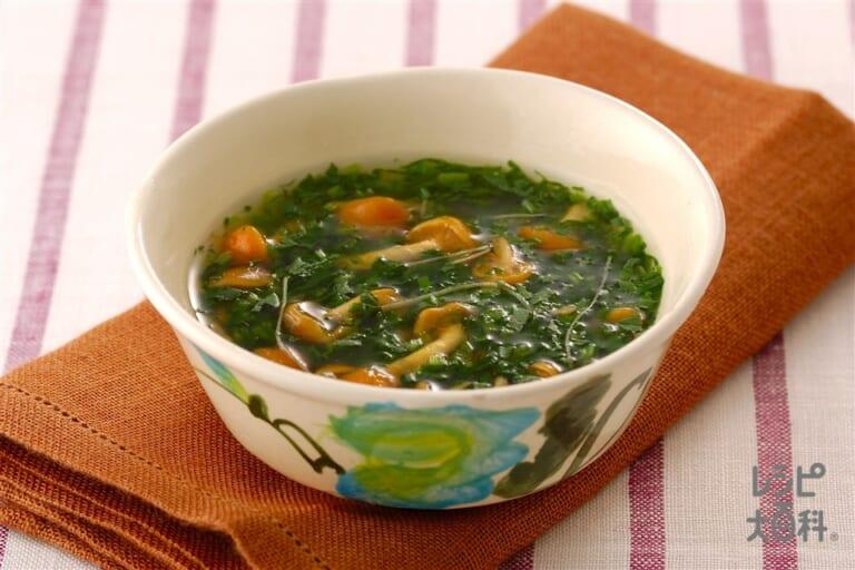 ほうれん草となめこのトロミスープ