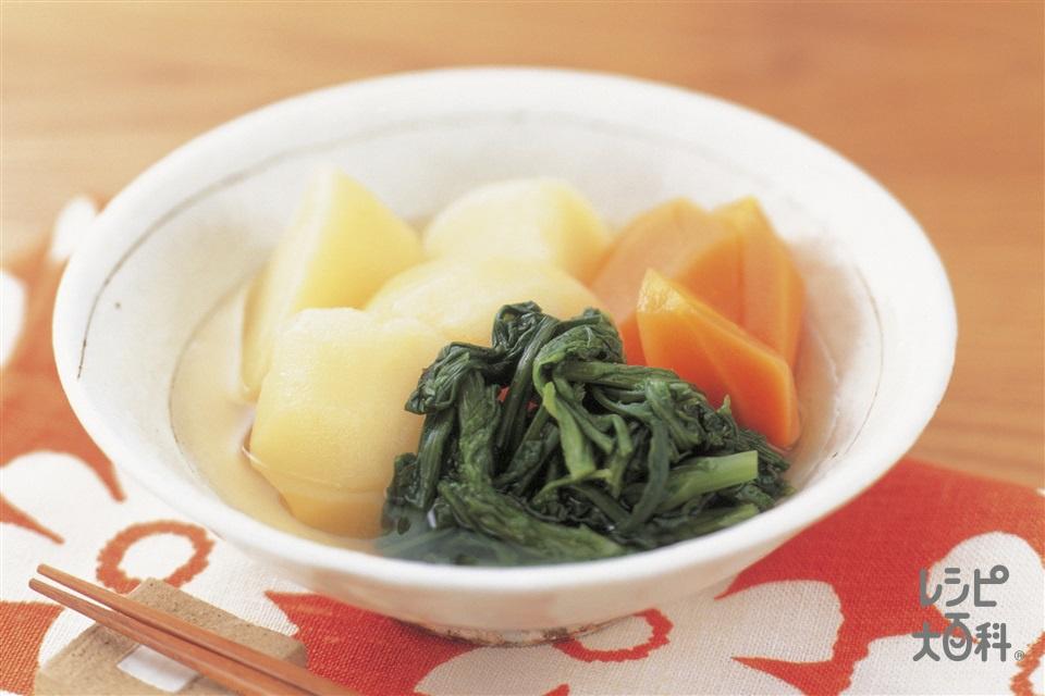 じゃがいも、春菊、にんじんのだし煮(じゃがいも+にんじんを使ったレシピ)