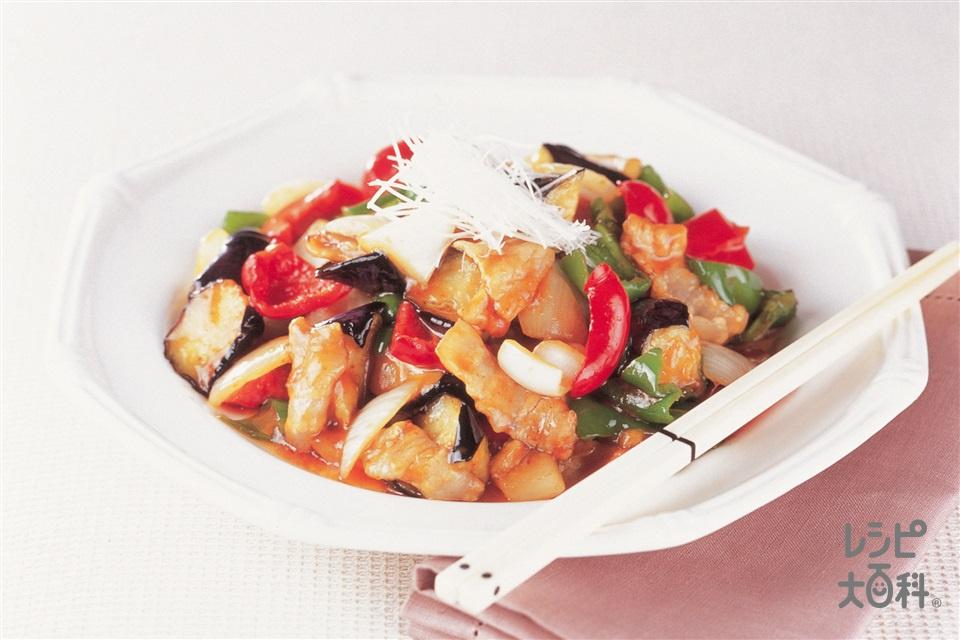 なすとカラフル野菜の甘辛中華炒め(豚バラ薄切り肉+なすを使ったレシピ)