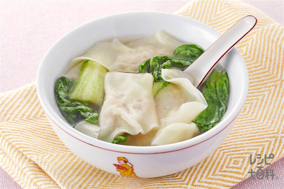 えびワンタンスープ(むきえび(小)+豚ひき肉を使ったレシピ)