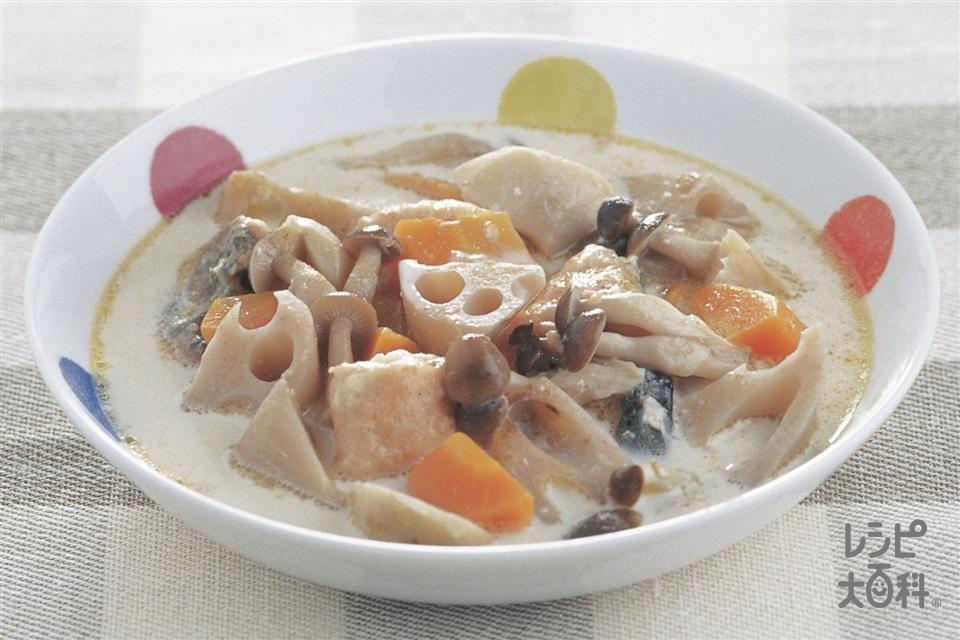 鮭と秋野菜のシチュー(生ざけ+調整豆乳を使ったレシピ)