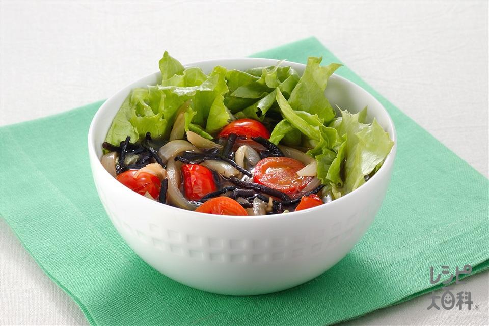 たっぷり野菜とひじきのヌードル風スープ(長ひじき+レタスを使ったレシピ)