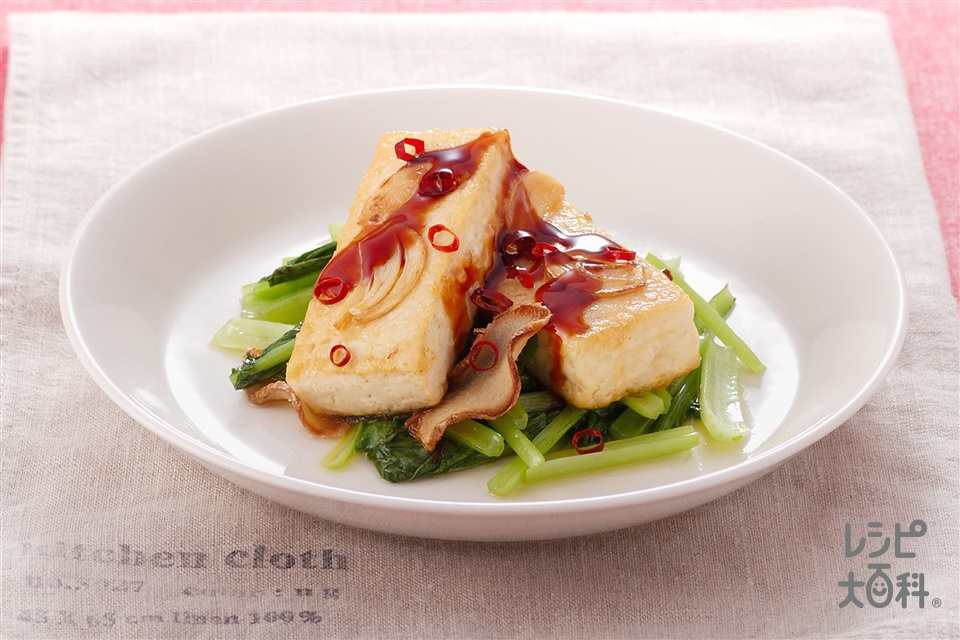 豆腐ステーキと小松菜のソテー(木綿豆腐+片栗粉を使ったレシピ)