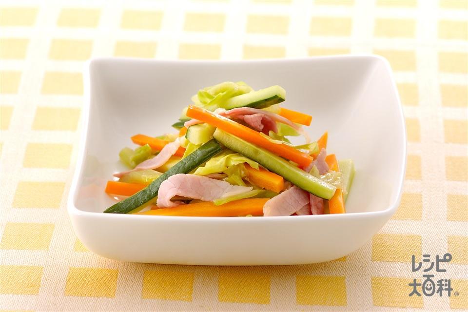 せん切り野菜の炒めサラダ(きゅうり+キャベツを使ったレシピ)