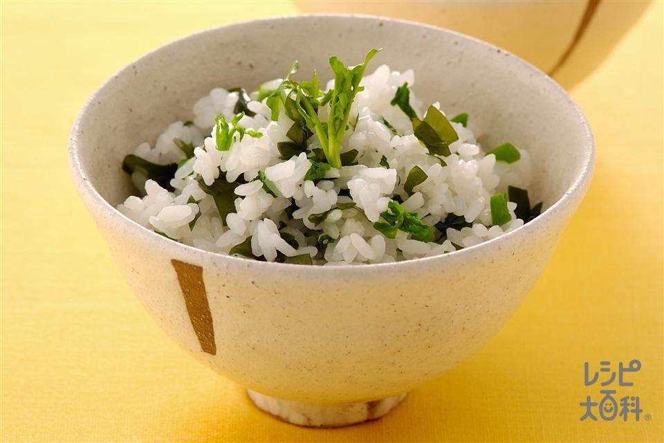クレソンとわかめの混ぜご飯(クレソン+ご飯を使ったレシピ)