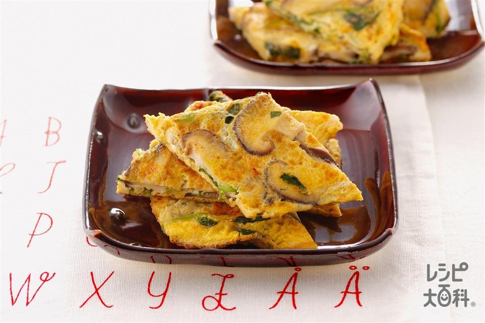 しいたけとみつ葉の薄焼き卵(しいたけ+卵を使ったレシピ)