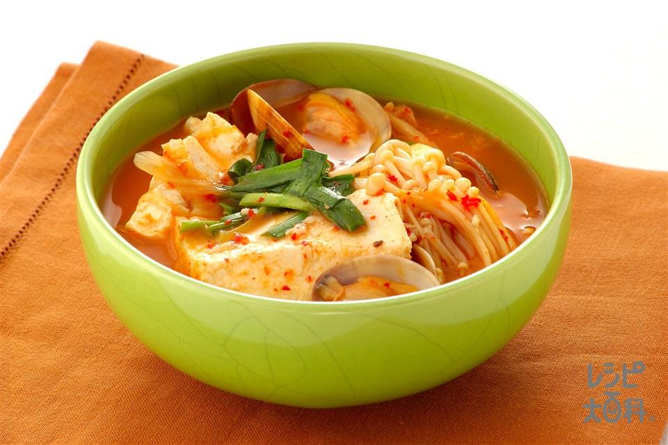 あさりと豆腐のチゲ(あさり(殻つき)+木綿豆腐を使ったレシピ)