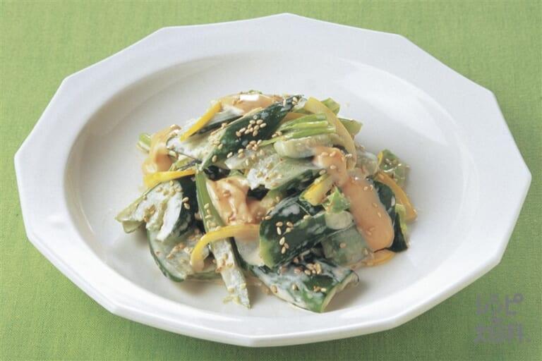 きゅうりと春野菜のピリ辛サラダ