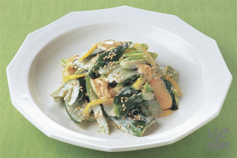 きゅうりと春野菜のピリ辛サラダ(きゅうり+キャベツを使ったレシピ)