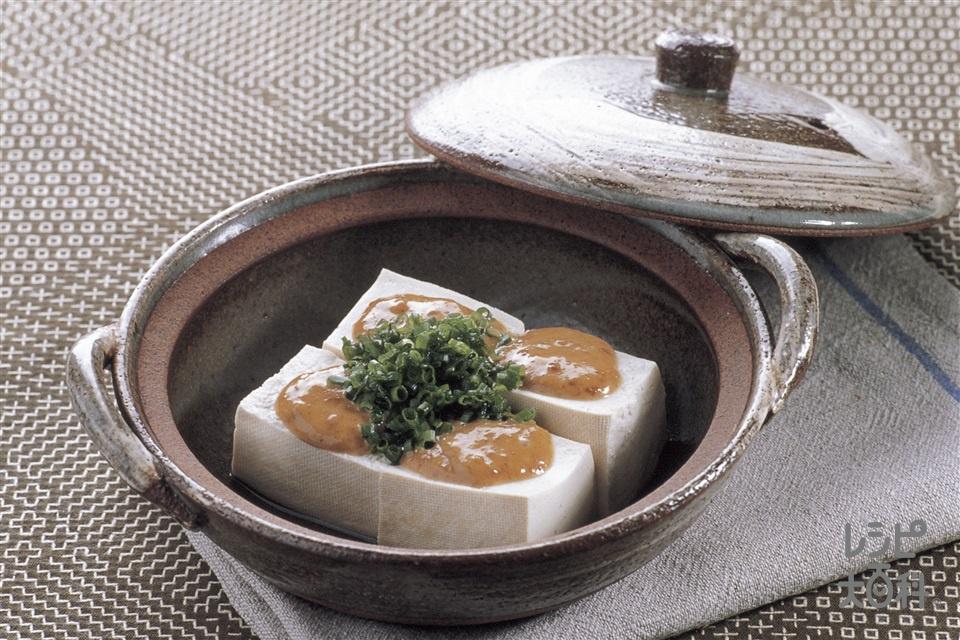 みそマヨ湯豆腐(絹ごし豆腐+小ねぎを使ったレシピ)