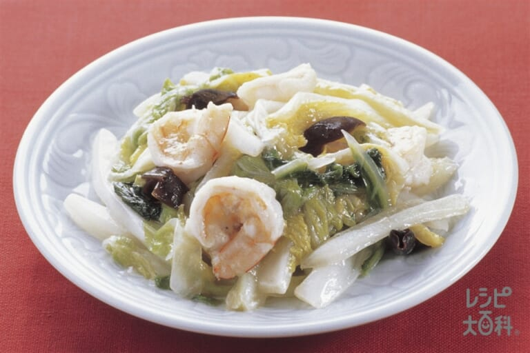白菜とえびのとろりマヨ炒め