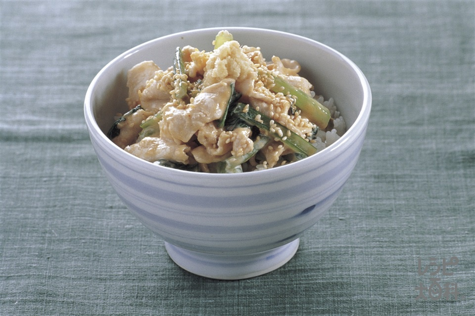 豚しゃぶのマヨごまだれ丼(豚ロースしゃぶしゃぶ肉+「瀬戸のほんじお」を使ったレシピ)
