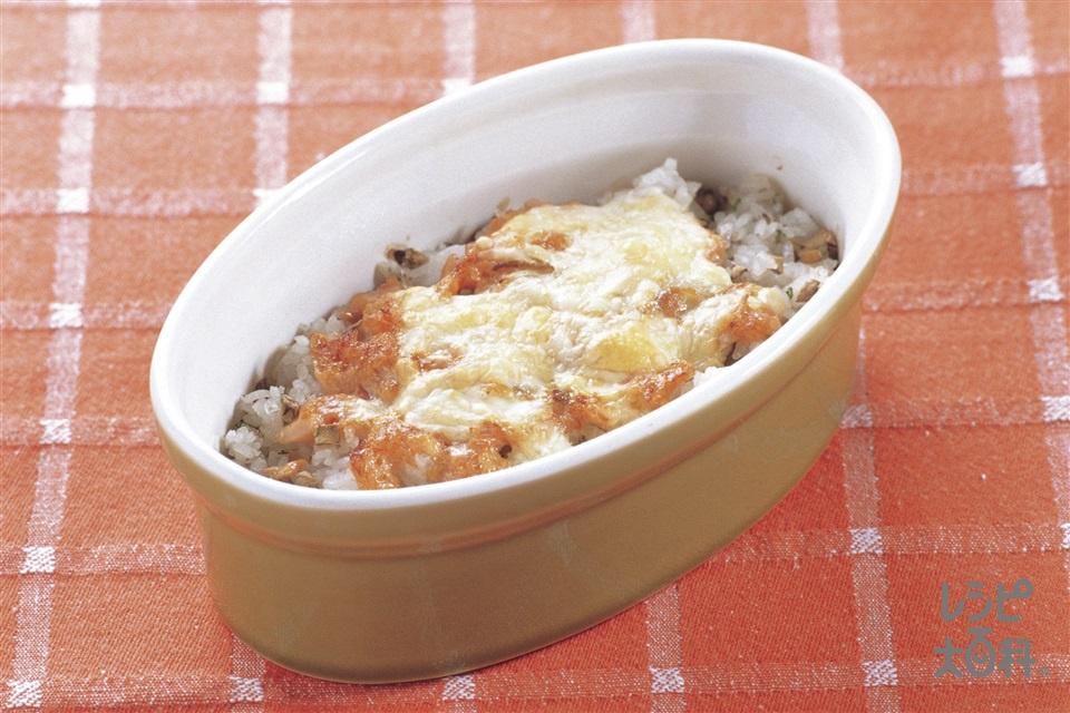 さけマヨドリア(ご飯+マッシュルームを使ったレシピ)