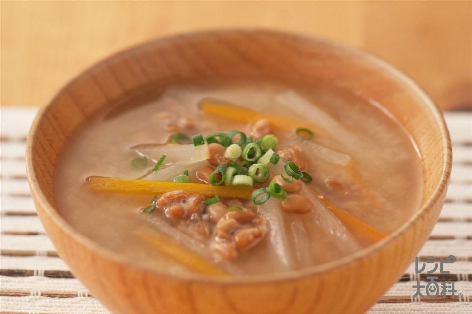 野菜たっぷり納豆汁(大根+にんじんを使ったレシピ)
